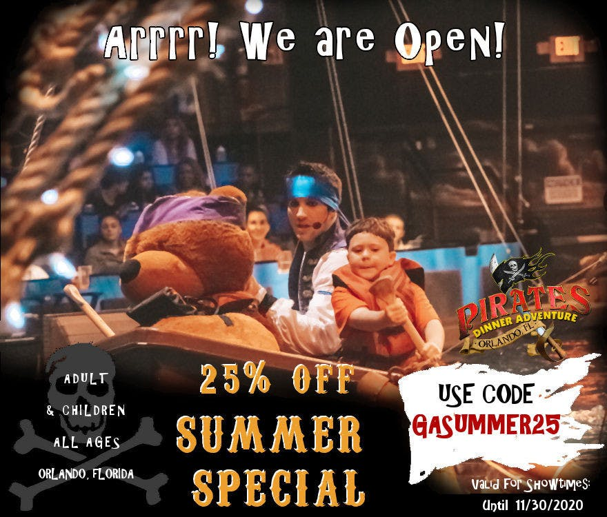 Summer 2020 Promo Pirates Dinner Adventure Orlando