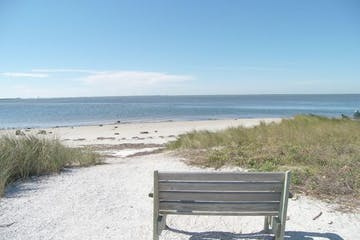 Empty bench on Snead's Island Paradise in Palmetto, Florida