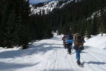 winter hikers in snowshoes hiking a snowy trail in the Cascades