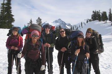 students in Kaf's winter navigation course near Mount Shuksan
