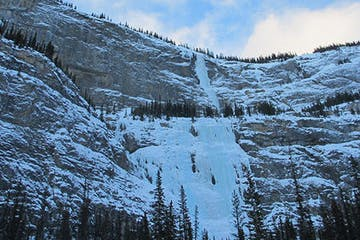 big ice flows coming down alpine walls in Banff, Alberta, Canada