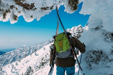 a skier on a snowy face during a Kaf ski mountaineering course near Seattle