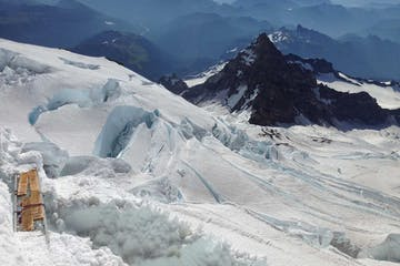 an advanced crevasse rescue course on a glacier near Seattle