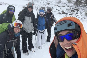 a group of climbers on a mountaineering skills course at Mount Hood