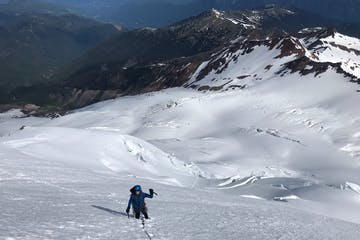 a climber on a guided climb of Mount Baker's North Ridge