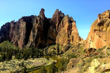 a landscape of the cliffs in Smith Rock State Park, Oregon