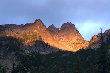 sunset over Chair Peak at Snoqualmie Pass