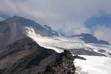 a melted out Cool Glacier near Glacier Peak