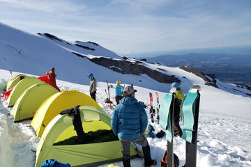 climbers at camp during a guided ascent of Mount Rainier