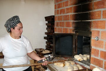 woman making a bread