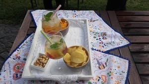 a tray of food on a picnic table and white sangria