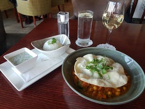 vegetarian curry and white wine at parknasilla resort and spa