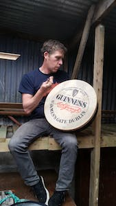 Ed Lacey playing a bodhran