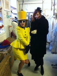 two women wearing costumes