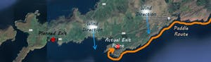 a close up of a map of the Beara Peninsula showing wind direction and Oona Goes Wild Route