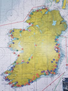 irish coast guard map showing locations of life boats