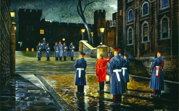 a group of soldiers walking in the rain