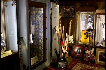 a room with guitars