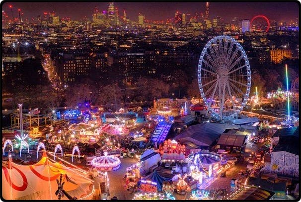 Christmas Market in Hyde Park at night