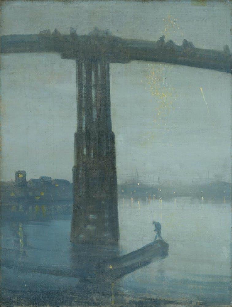 a bridge in the fog