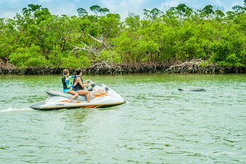 people on a jet ski in a body of water