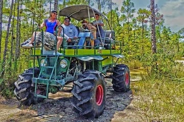 people riding a swamp buggy
