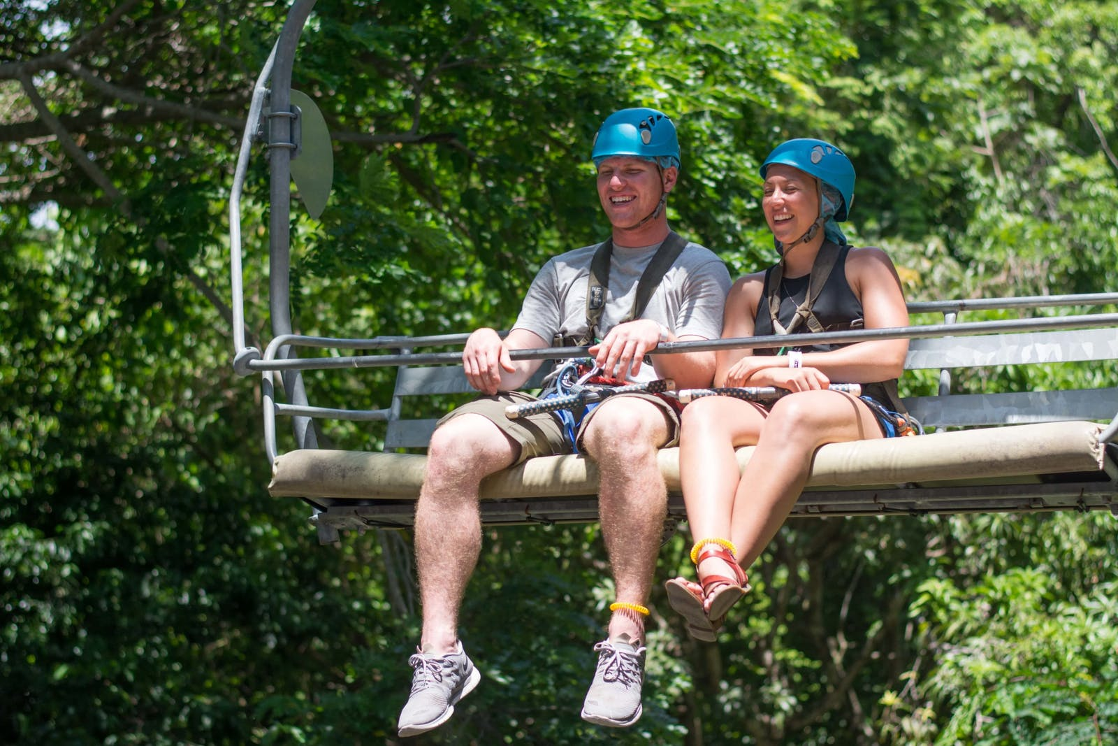 two people going to zipline