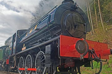 a red and black train engine