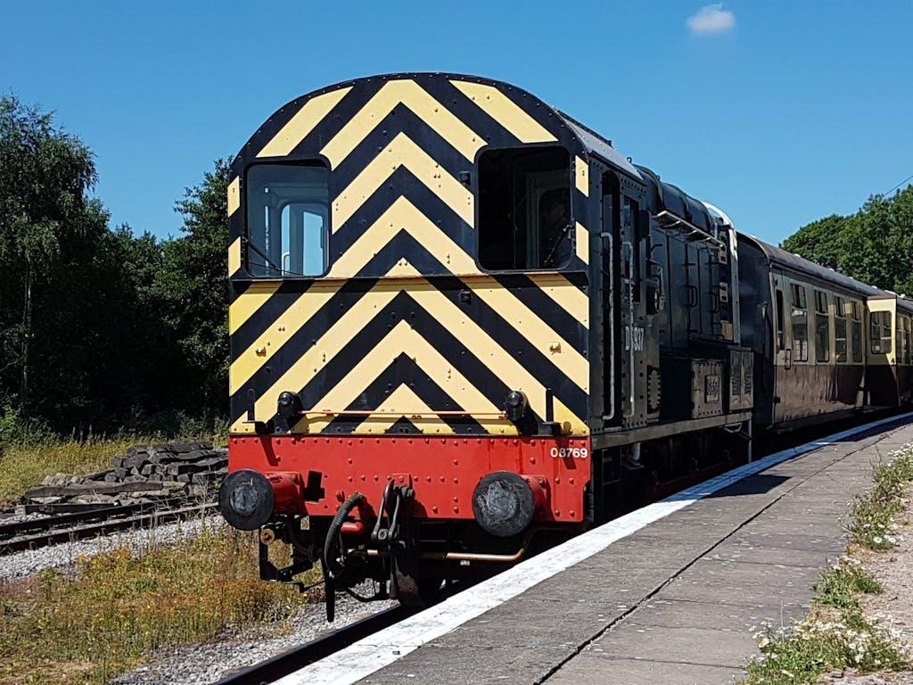 a train on a railroad track