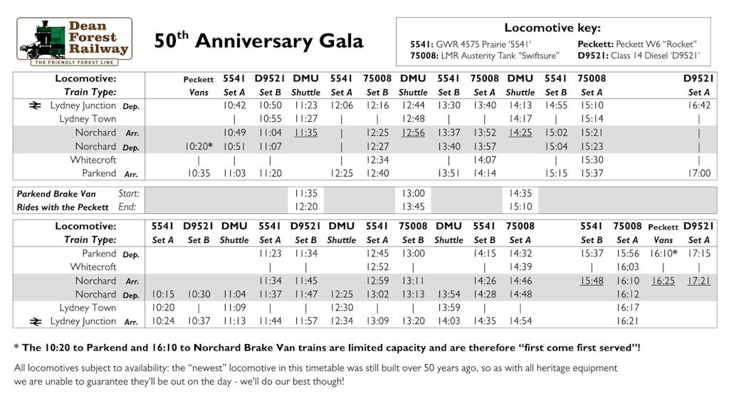 2021 50th Anniversary Gala Timetable