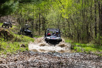 a rzr traveling down a dirt road in a forest