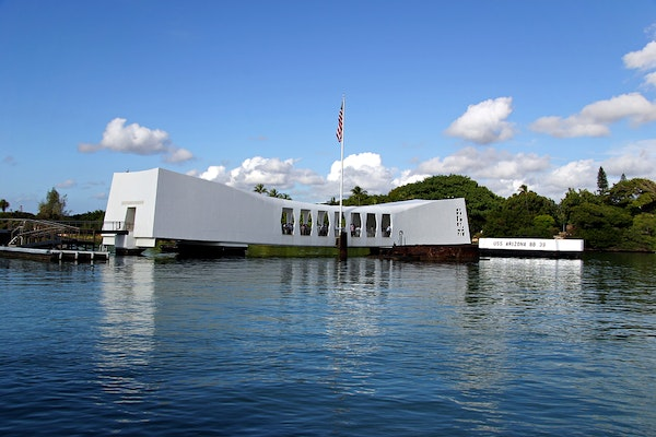 memorial spanning the sunken u.s.s. arizona in pearl harbor (honolulu, hawaii) remembering those lost during the japanese attack on december 7, 1941.