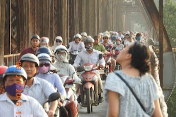 a group of people on motorbikes