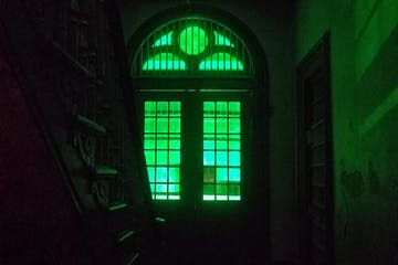 a building with a green light