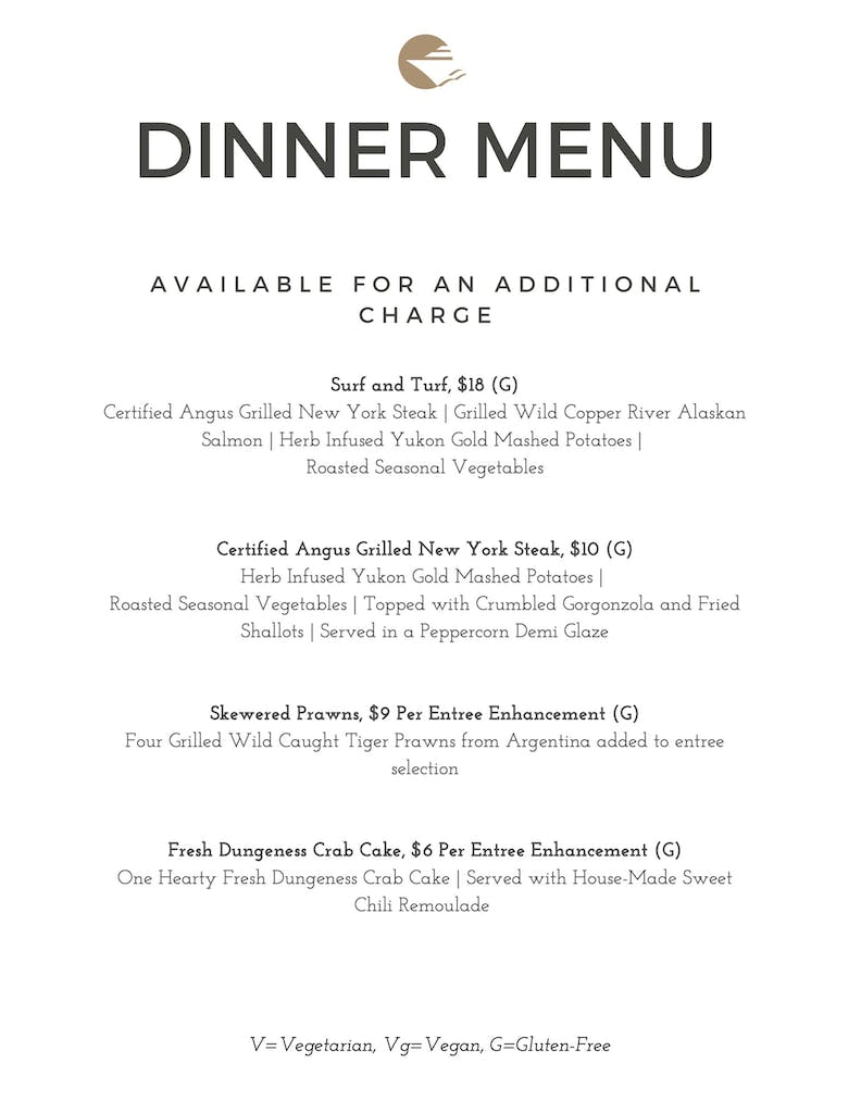 Dinner Upgrades available Fall and Winter