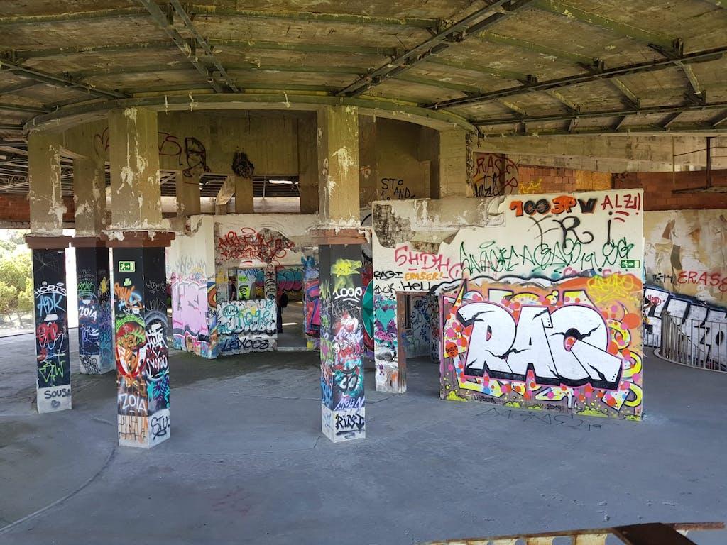 a store filled with lots of graffiti