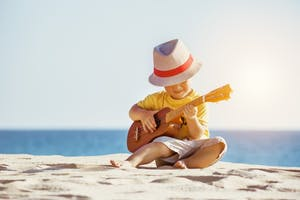 a person sitting on a beach