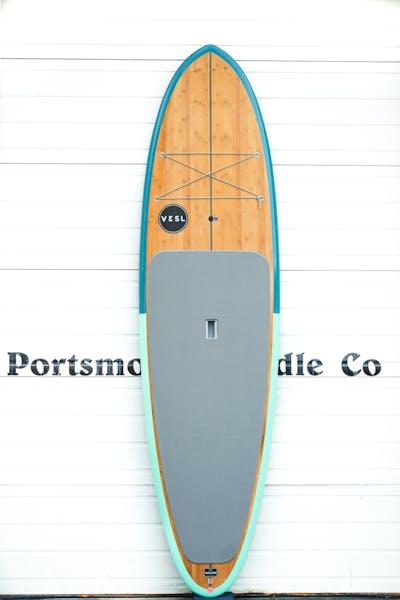 Teal and Seafoam Bamboo Paddle Board