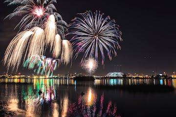 fireworks in the skyline