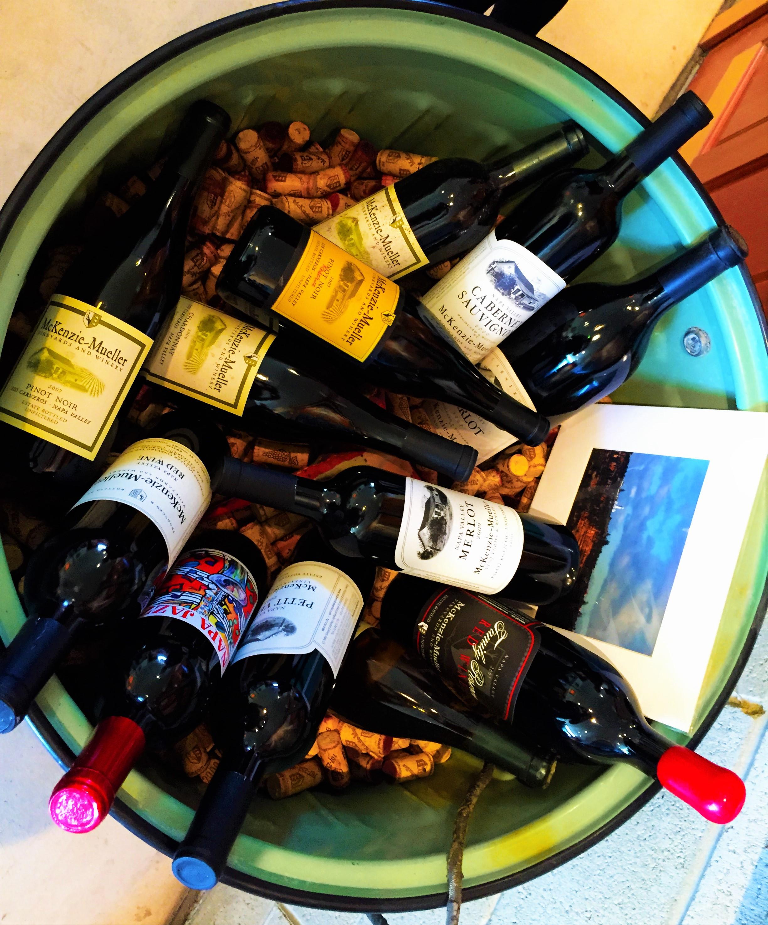 bottles of wine during tasting