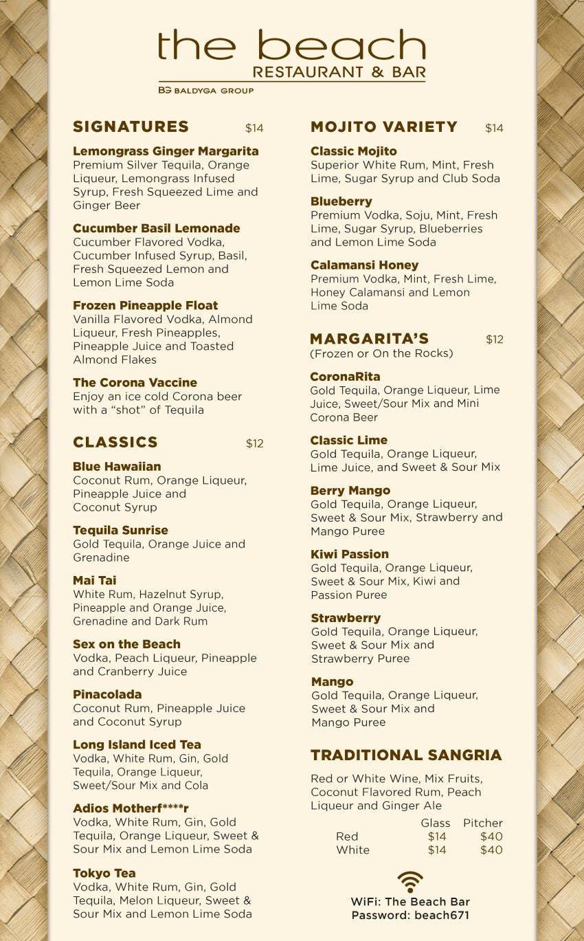 Guam beach restaurant beach bar menu