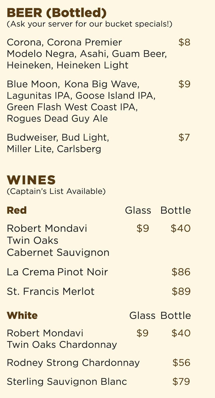 Guam beach restaurant beach bar drink menu