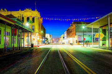 Galveston streets at night