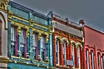 colorful building along the streets of Galveston