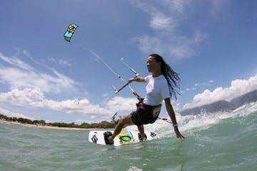 person kiteboarding