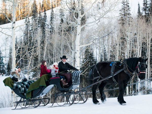 a man riding a horse drawn carriage with people in the snow