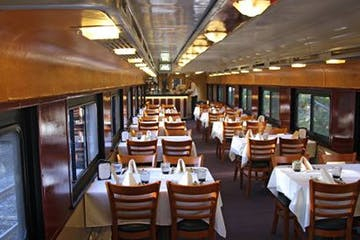 the dining car on a train