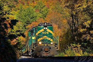a yellow train traveling down train tracks near a forest
