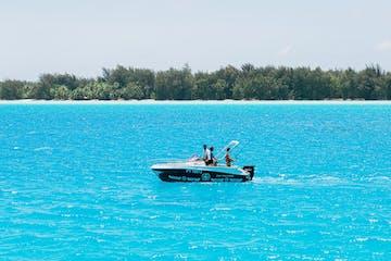 A couple fishing in Bora Bora lagoon