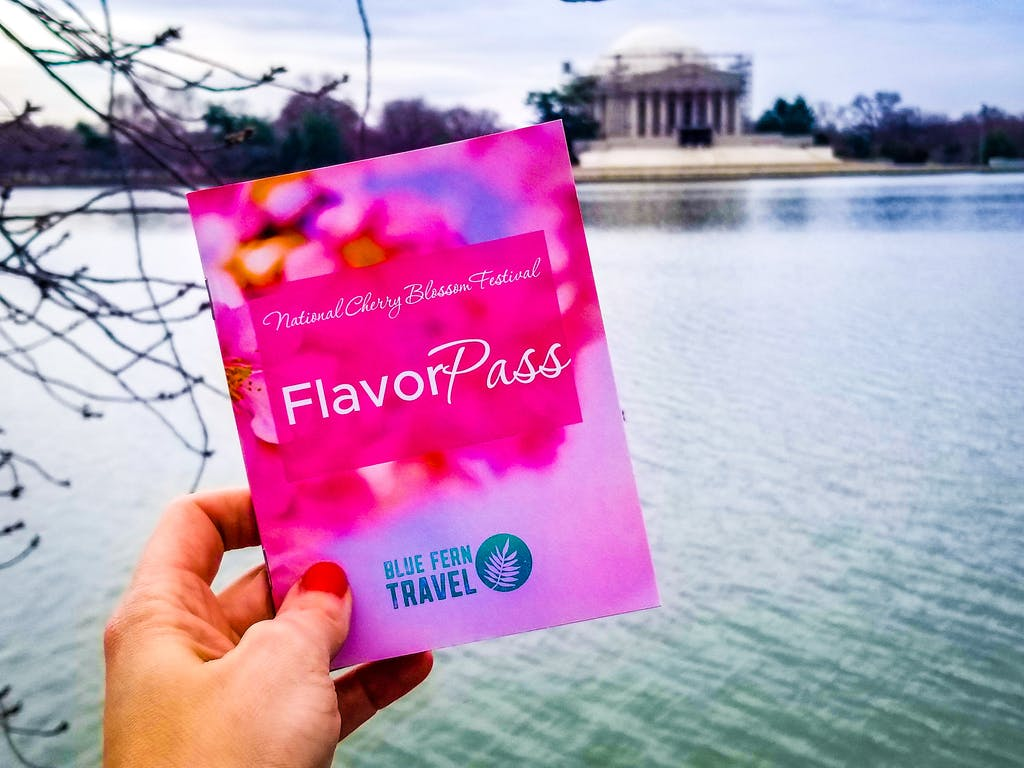 hand holding booklet in front of Thomas Jefferson Memorial